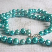 Enrich Teal Freshwater Pearl and Sterling Silver Necklace