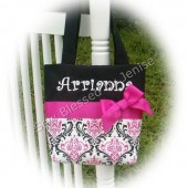 Damask Flower Girl Tote, Monogrammed