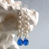 Glisten Freshwater Pearl, Crystallized Glass and Sterling Silver Earrings