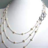 Grace Ivory Freshwater Pearl and Sterling Silver Triple Strand Necklace