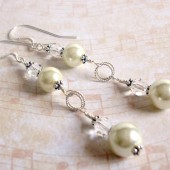 Hypnotic Glass Pearl, Swarovski Crystal and Sterling Silver Earrings