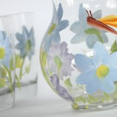 Blue floral pitcher with a dragonfly - Newlywed gift