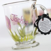 hand painted personalized mug for the bridesmaid