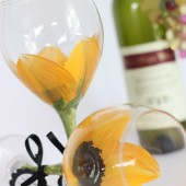 Sunflower hand painted wine goblets