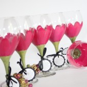 Hot pink gerbera daisy hand painted wine glasses for the bridal party