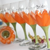 Pure orange gerbera daist bridal party wine glasses - Top rack dishwasher safe