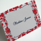 Red Floral Place Card