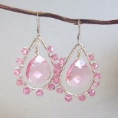 Impression Blush Swarovski Crystal and Sterling Silver Chandelier Earrings