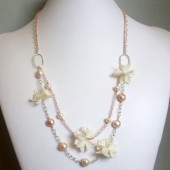 Tickled Freshwater Pearl, Silk Flower, Sterling Silver and 14K Rose Gold-Plated Necklace