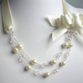 Katelyn Glass Pearl, Swarovski Crystal, Satin and Sterling Silver Necklace