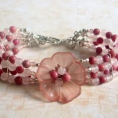 Primrose Blossom Rose Quartz, Rhodonite, Czech Glass and Sterling Silver Bracelet
