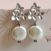 Purity Freshwater Coin Pearl and Sterling Silver Earrings