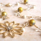 Radiant White Quartz, Metallic Glass, Clear Quartz and 14K Gold Plated Necklace with Swarovski Crystal Flower Brooch