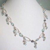 Serendipity Swarovski Crystal, Aqua Agate and Sterling Silver Necklace