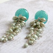 Trickle Venetian Glass, Freshwater Pearl and Sterling Silver Earrings