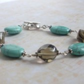 Wander Smoky Quartz, Turquoise and Sterling Silver Bracelet