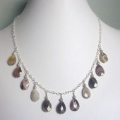 Waver Freshwater Pearl, Botswana Agate and Sterling Silver Necklace