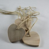 Unfinished wooden heart tags