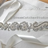 Arianna Vintage Looking Swarovski Crystal Sash onn off white double satin ribbon