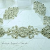 NINA Vintage Looking Swarovski Crystal Wedding Gown Sash Belt with Sheer Organza ribbon