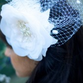 Melina Dramatic Bridal flower, Birdcage veil and feathers fascinator