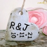 Wedding Bouquet Charm - Engraved With Your Initials and Wedding Date