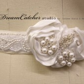 Savannah pearl beaded and flower bridal sash