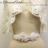 Diana Belt Beaded Vintage White, Satin Wedding Gown Sash with handmade roses and beading