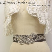 Aimee Hollywood Style Beaded Crystal and Silver Ribbon Wedding Gown Belt, Sash with Swarovski crystal, super Glam