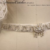Danielle Vintage Looking Wedding Gown Crystal Sash Belt