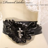 Stacy-Ann Alluring Black Flower Sash with Crystal Brooch and Satin Ribbon