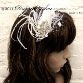 Dramatic Princess Bride White Feather and Crystal headband, fascinator