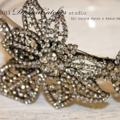 Genevieve Dramatic Bridal Vintage Crystal flower cluster, headband, fascinator