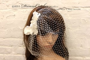 Rosette Birdcage veil w/ silk ivory flower and crystal vintage accent brooch