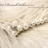 Bella Marie Headband Ostrich Feather and Pearl with Crystals, Romantic, Bridal, Flapper Piece
