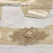 Camille Vintage Looking Pearl Beaded bridal Sash / Belt Ivory Satin Ribbon