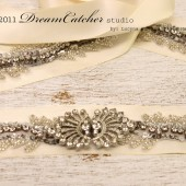 Belinda Vintage Looking Wedding Gown Crystal Sash Belt