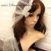 Miranda Veil w/ Crystal flower , Vintage romantic look