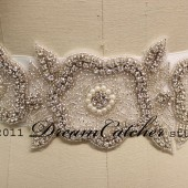 Kerri Flower Glam Swarovski crystal and pearl bridal sash
