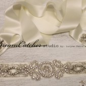 Simonette Glam Vintage Looking Swarovski Crystal Sash Belt with vintage Ivory Satin Ribbon