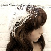Milla Headpiece Ostrich Feather and Pearl with Crystals, Romantic, Bridal