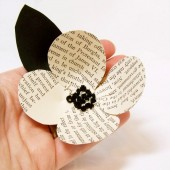 Vintage Book Page Boutonniere