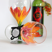 Red and Orange Hibiscus hand painted wine glass - Top rack dishwasher safe
