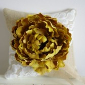 Ring Bearer Pillow - Burlap, lace, golden flower