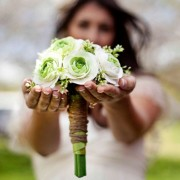 White and Green Ranunculus Bouquet