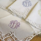 Lace Handkerchief with 3-Initial Monogram