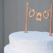 Wood Bunting Cake Topper