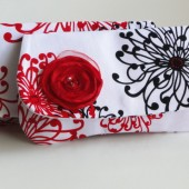 clutch red, black and white