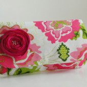 clutch in bright pink and green
