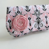 pink and gray clutch